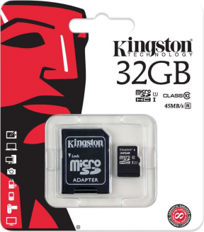 Paměťová karta Kingston Micro SDHC karta 32GB Class10 80R + S