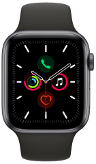 APPLE Watch Series 5 - 44mm Space Grey Aluminium Case, černá